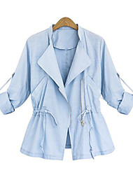 Women's Solid Blue/White Casual Stand Long Sleeve Pocket/Zipper