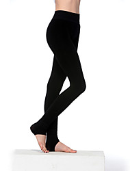 Women Nylon/Polyester Thick Fleece Lined Low Waist Warm Uterus Legging