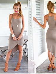 Vestidos ( Algodón )- Playa/Casual Sin Mangas para Mujer