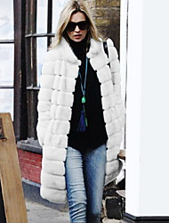 Women's Long Sleeve Fashion Fur Overcoat Casual/Party Coat