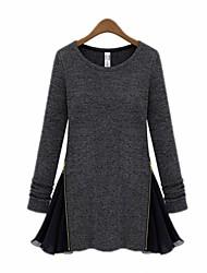 Women's Vintage/Casual/Work/Plus Sizes Micro-elastic Long Sleeve Long Blouse (Chiffon/Cotton)