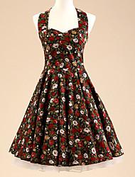 50s halter de las mujeres del vestido del oscilación rockabilly estampado de flores de época (No incluye las enaguas)