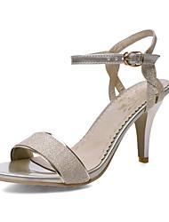 Women's Shoes Kitten Heel D'Orsay & Two-Piece/Open Toe Sandals Office & Career/Dress Silver/Gold