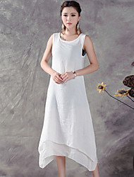 Women's Round Neck Dress , Cotton/Linen Midi Sleeveless