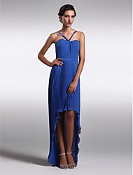 Asymmetrical Chiffon Bridesmaid Dress - Royal Blue Sheath/Column Spaghetti Straps