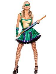 Zentai - Feminino - de Halloween/Carnaval/Ano Novo - Fantasias de Conto de Fadas - Fantasias - Vestido/Luvas/Máscara