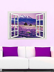 3D Wall Stickers Wall Decals Style Lavender Flowers Sea PVC Wall Stickers