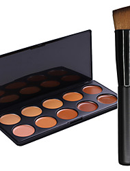 New 10Colors Salon Contour Face Cream Makeup Concealer Palette+1PCS Makeup Foundation Brushes