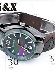 Exército moda cinto de quartzo verde relógio de pulso dos homens