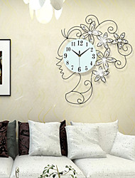 Modern Style Girl Iron Dimond Girl Mute Wall Clock