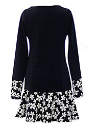 ZAY Women's Spring Fashion Floral Splicing Long Sleeve Casual Dress