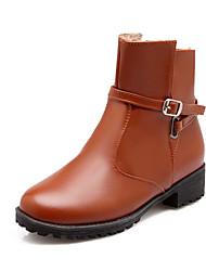 Zapatos de mujer Semicuero Tacón Robusto Punta Redonda Botas Casual Negro/Marrón/Amarillo