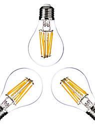 6W E26/E27 Ampoules à Filament LED G60 6 COB 600 lm Blanc Chaud Gradable AC 100-240 AC 110-130 V 3 pièces