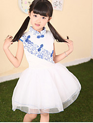 Girl's Summer China Style Tutu Dress Lace Flower Girl Dresses