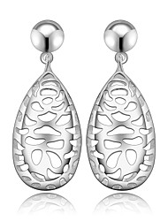 lureme® Fashion Style Silver Plated Hollow Shape Drop Stud Earrings