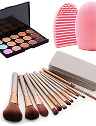 12Pcs Cosmetic Makeup Tool Eyeshadow Powder Blush Foundation Brush Set Box +15Colors Concealer+1PCS Brush Cleaning Tool