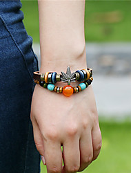 DMI™ Vintage Unisex Leather Beads Maple Leaf Bracelet
