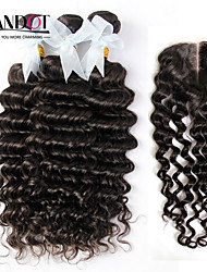 4Pcs Lot Indian Deep Wave Curly Virgin Hair With Closure 3Bundles Unprocessed Remy Human Hair Wefts With Lace Closure