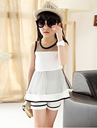 Girl's Chiffon/Cotton Fashion Europe Style Translucent Sleeveless Clothing Set