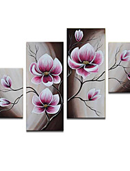 VISUAL STAR®Abstract Flowers Oil Painting Hand-Painted Canvas Wall Art Handmade Oil Painting Four Panels Ready to Hang