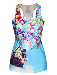 PinkQueen® Women's Polyester/Spandex  Hot BalloonPrinted Tank Top