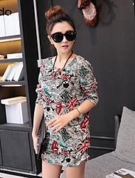 vestido botão das mulheres, misturas de algodão / lã acima do joelho manga longa