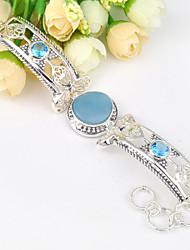 2015 antique Amazonita naturais pulseiras gema azul do topázio da cadeia de 0,925 prata pulseiras para a festa de casamento do feriado