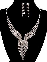jóias de cobre prata moda longa queda totalmente strass set 8
