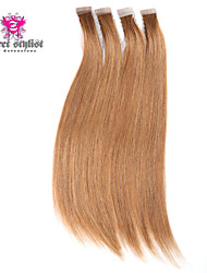 droite ruban 20pcs 20inch soyeuse de trame de la peau chez brésilien extensions de cheveux humains vierges # 8 marron