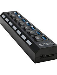 7 porte USB 3.0 porte 7x hub esterno con interruttore on / off + CA per il computer portatile del desktop