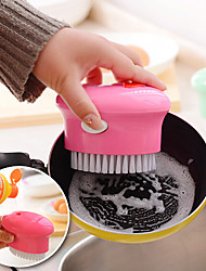 Oval Shaped Dish Washing Brush with Liquid Soap Dispenser Kitchen Toois  (Random Color)