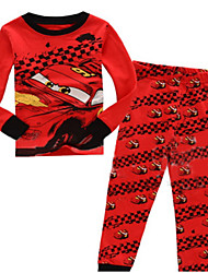 Boy's Cotton Leisure Car Print Round Collar Long Sleeve Clothing Set