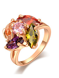 Z&X® Rose Gold Multicolor Zircon/Crystal Statement Rings Wedding/Party/Daily