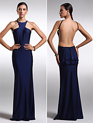 Formal Evening Dress - Dark Navy Plus Sizes / Petite Sheath/Column Jewel Floor-length Charmeuse