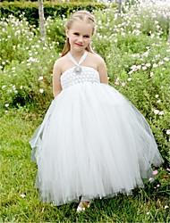 Цветочница платье - Бальное платье Длина ниже колен Без рукавов Тюль