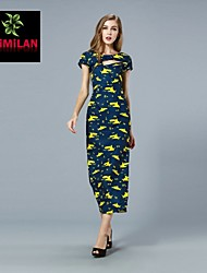YIMILAN® Women's The New 2015 Printed Side Split Sexy Feminine Dress