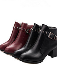 Women's Shoes Faux Leather Chunky Heel Combat Boots Boots Casual Black/Burgundy