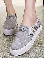 Zapatos de mujer - Plataforma - Plataforma / Comfort / Punta Redonda - Mocasines - Casual - Tejido - Negro / Azul / Blanco / Gris