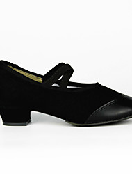 Women's Dance Shoes Modern/Performance/Practice Shoes Leather Flat Heel Black/Red