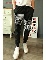 Pantalon de Sport Pour des hommes A Motifs / Couleur plaine Décontracté / Travail / Sport Coton Noir / Gris