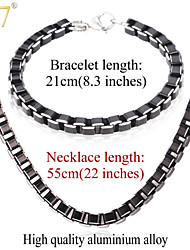 U7® Men's 2015 Fashion 22'' Necklaces Bracelets Sets High Quality Men Jewelry Black Cool Box Link Chain Jewelry Sets