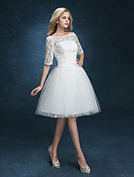 Ball Gown Wedding Dress - White Short/Mini Bateau Lace