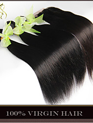 3Bundles Filipino Virgin Hair Straight With Closure Unprocessed Human Hair Weave And Free/Middle/3 Part Lace Top Closure