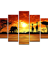 VISUAL STAR®Animal Oil Painting Hand-Painted Canvas Wall Art Handmade Oil Painting Five Panels Ready to Hang