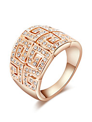 Z&X® Rose Gold Zircon Double Row Great Wall Lines Statement Rings Wedding/Party/Daily