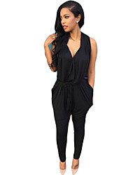 Women's Solid Black/Gray Jumpsuits , Casual Sleeveless