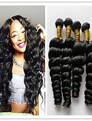"""3pcs / lot brasileña virginal del pelo pelo de la onda suelta suelta la onda del pelo humano 8 """"-34"""" color natural 1b del pelo teje"""