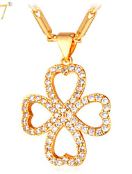 U7® Women's Romantic Heart Pendant Jewelry Gift for Lovers 18K Gold Plated Happiness Four Leaf Clover CZ Necklace