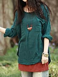 Women's Casual Inelastic Long Sleeve Regular Blouse (Cotton Blends)