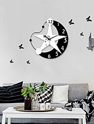 Modern Style Angle Moon Star Mirror Wall Clock